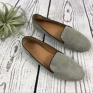J. Crew grey Addie suede leather loafers 7